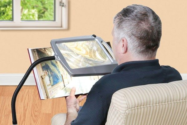 Floor stand magnifier for reading