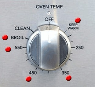 Oven dial bump dots