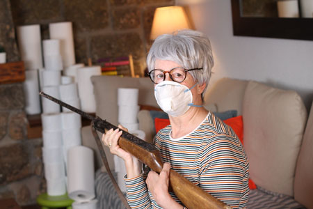 senior woman security rifle protection