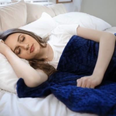 Girl sleeping with Minky blanket