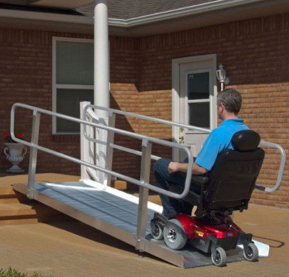 Semi-permanent aluminum wheelchair ramp.