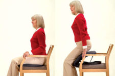 As you stand up, the Seat Assist offers a gentle push. Reverse these pictures for how to use the Seat Assist to sit down.