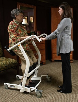 "Use the Patient Transport bar to pull yourself up. Lean against the seat to ""stand."" Someone must pull the device."