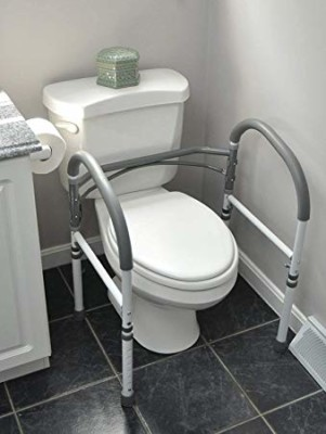 This toilet seat assist surrounds the toilet with four feet on the floor