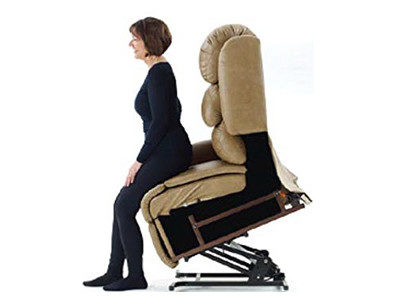 Lean on the chair and let it carry you to a seated position