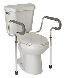 Put the Toilet Assist around the toilet for help sitting and standing.