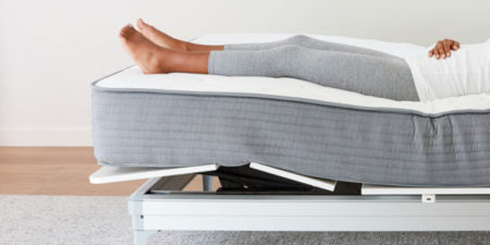 Legs elevated in a Yassa adjustable bed