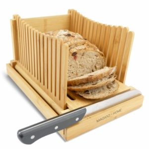 The Magigo Bread Slicer is a box with multiple slots. Helps with tremors and hand aches