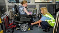 Wheelchair rider locking into bus interior