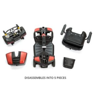 Travel scooters disassemble for fold for easier carrying and stowing.Disassemble the Jazzy ZT into five pieces for easier carrying and transport.