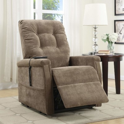 Pulaski Montreal Lift Chair foot rest is up, chocolate brown