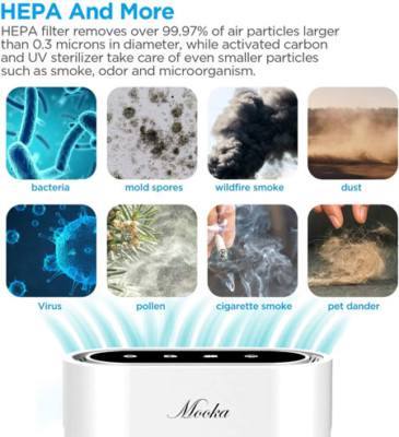 Mooka True Hepa+ Air Purifier removes pollutants