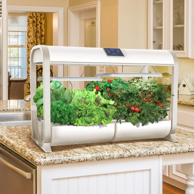 The AeroGarden Farm sits wide on a kitchen counter.