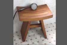 AquaTeak Shower Chair for Seniors in the shower