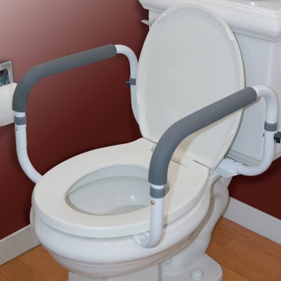 This toilet assist has rubber to grip when sitting and standing