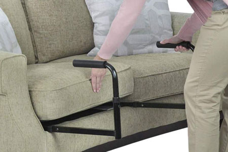 Install this device under a couch or chair cushion. It does not install under cushions sewn to the furniture