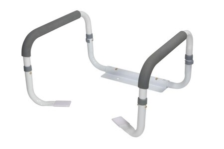 This toilet stand assistance device does not sit on the floor at all. Its back arm and two front feet rest on the base of the toilet under the seat.