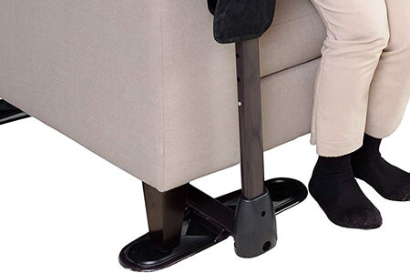 Install the assistance leg under the couch leg