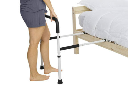 This bed device installs under the mattress and then the feet go on the floor