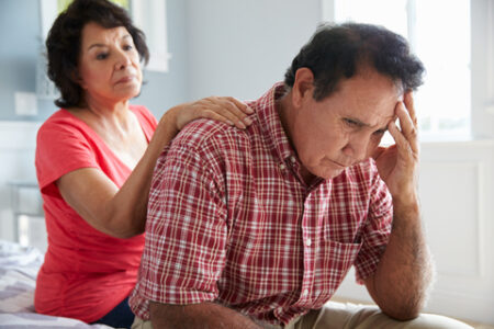 Red light therapy for dementia: worried man and wife