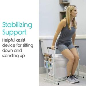 vive Health Adjustable Stand Alone Toilet Rail with Storage2